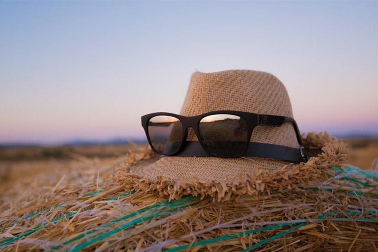 sunglasses on hat